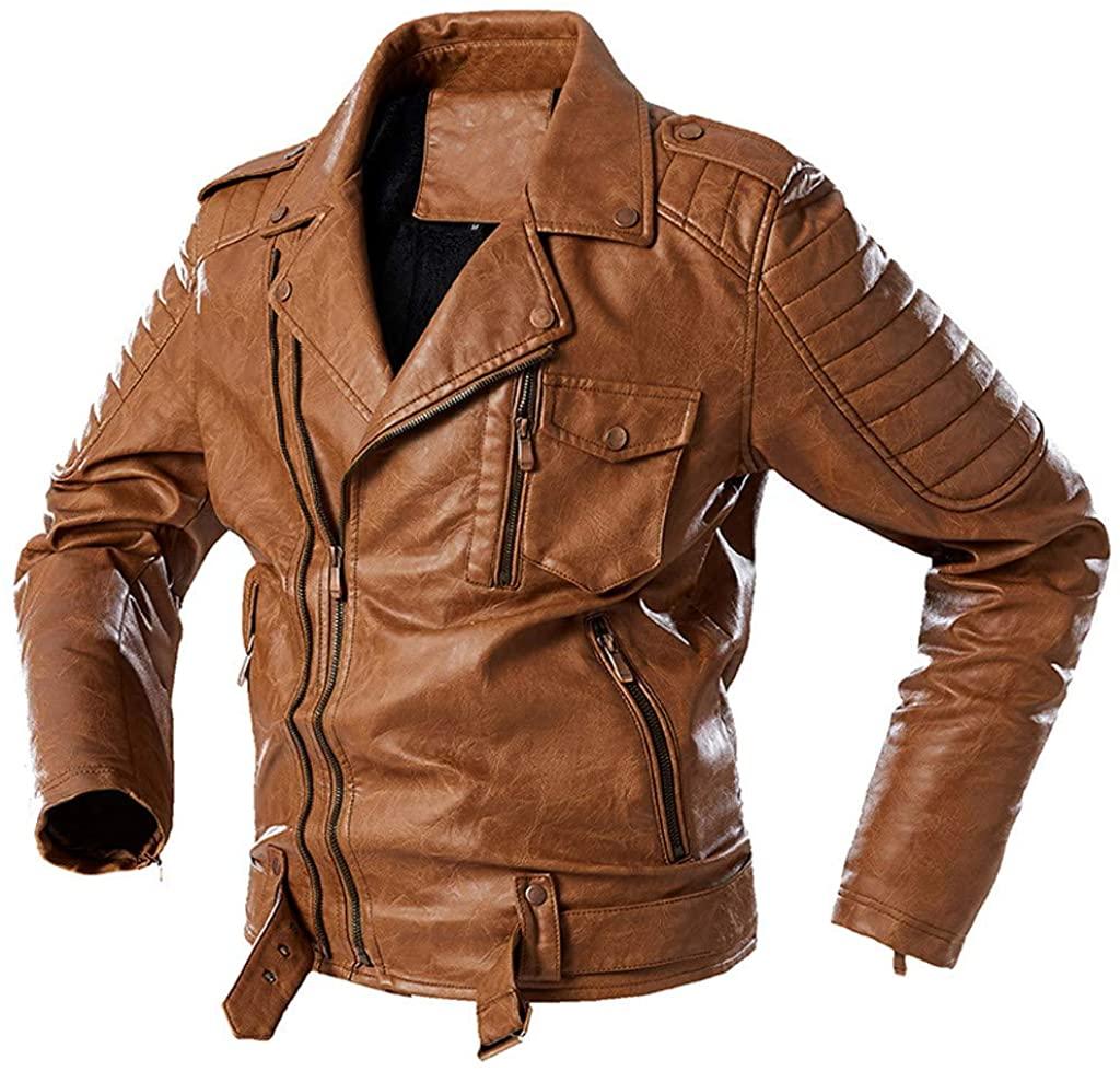 BABUYTOP Mens Vintage Asymmetric Zip Lightweight Faux Leather Biker Jacket Leather Motorcycle Jacket Men Bomber Jackets