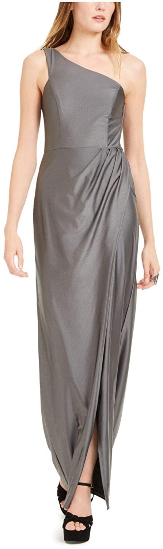 City Studio Womens Gray Zippered Sleeveless Asymmetrical Neckline Maxi Sheath Evening Dress Size 5