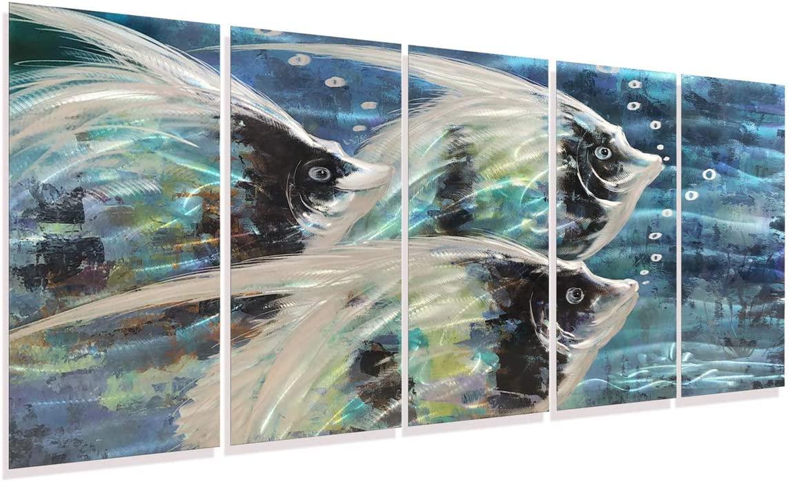 3d Fish Metal Artwork on Aluminum Panel Silver Blue Nautical Sculpture Modern Bathroom Decor Wall Art in Sea Life Design Set of Five Pieces