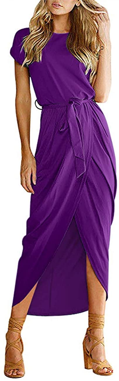 MISFAY Women's Casual Short Sleeve Belted Waist Slit Solid Party Summer Long Maxi Dress