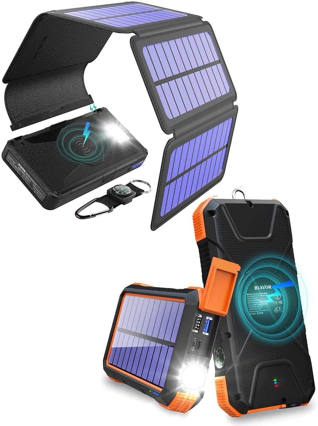 20,000mAh PD Fast Solar Phone Charger-Orange Plus 20,000mAh Wireless Solar Charger with Detachable Panels-Black