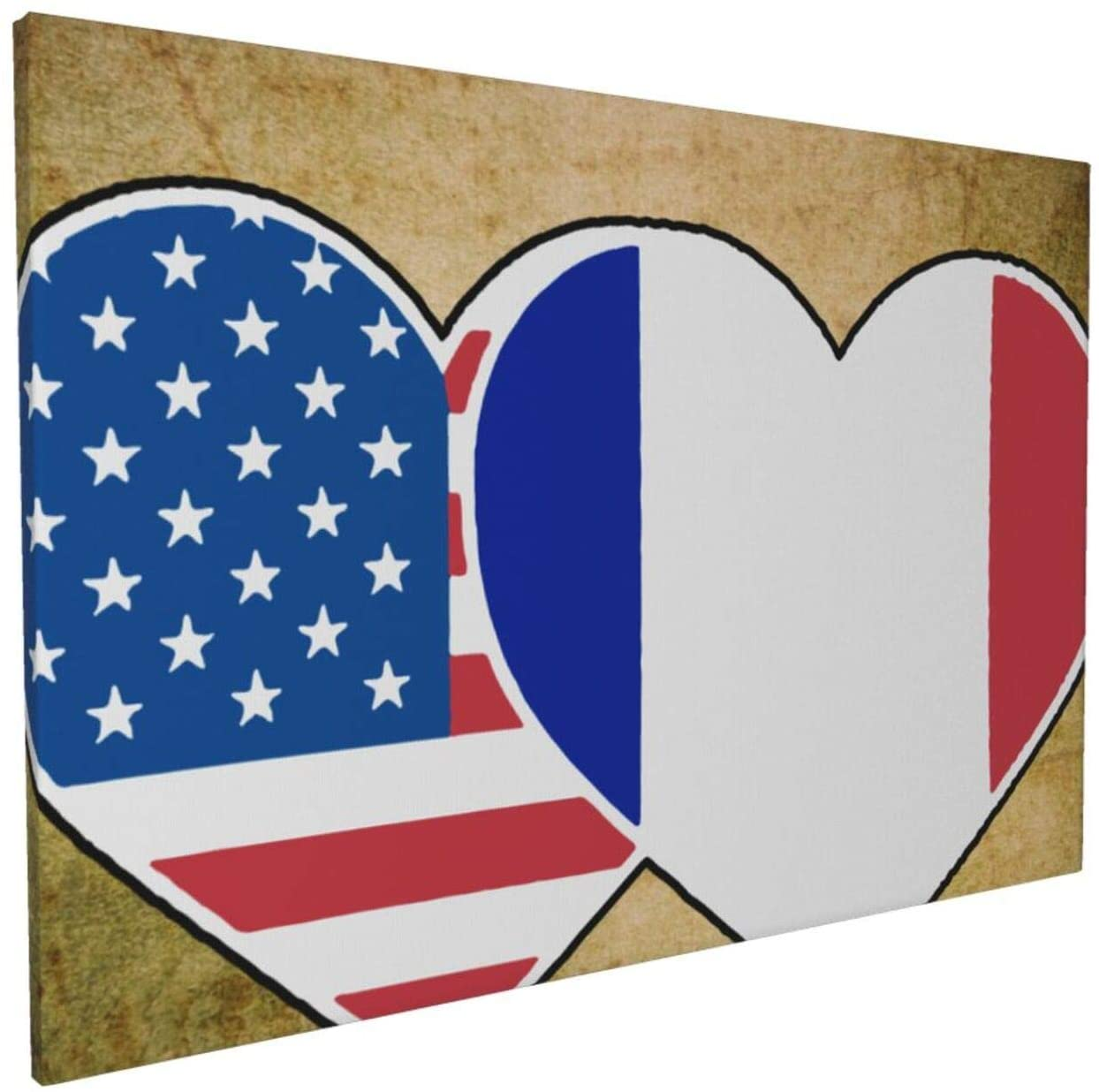 Canvas Wall Art with France USA Flag Twin Heart Painting Print, 16