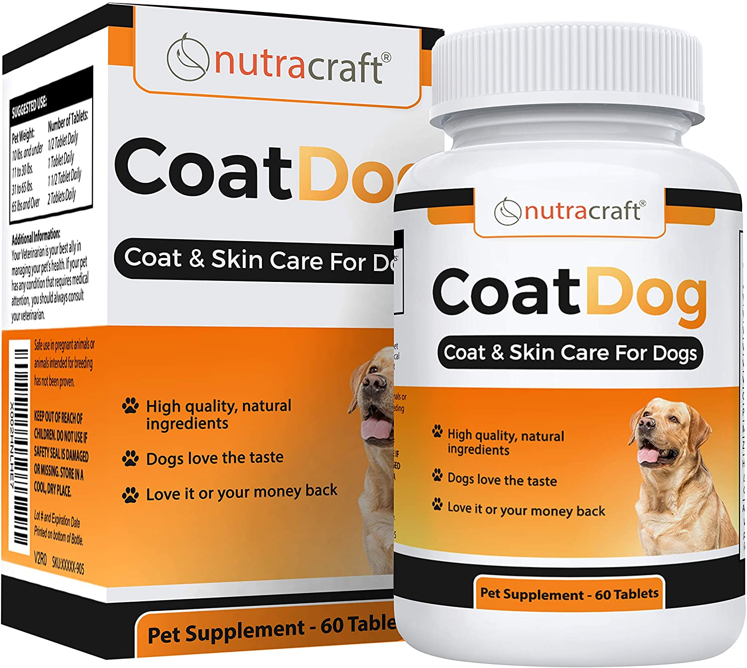 Nutracraft CoatDog Skin and Coat Supplement for Dogs - Advanced Wellness Blend for Dry, Itchy, Flaky Skin and a Lacklustre Coat - 60 Tablets