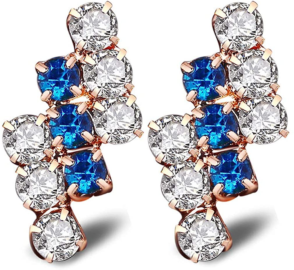 YAZILIND Women Clip On Cubic Zirconia Blue White Gold Plated Sparkling Stud Earrings Statement Elegant Party Sensitive Ear Jewelry