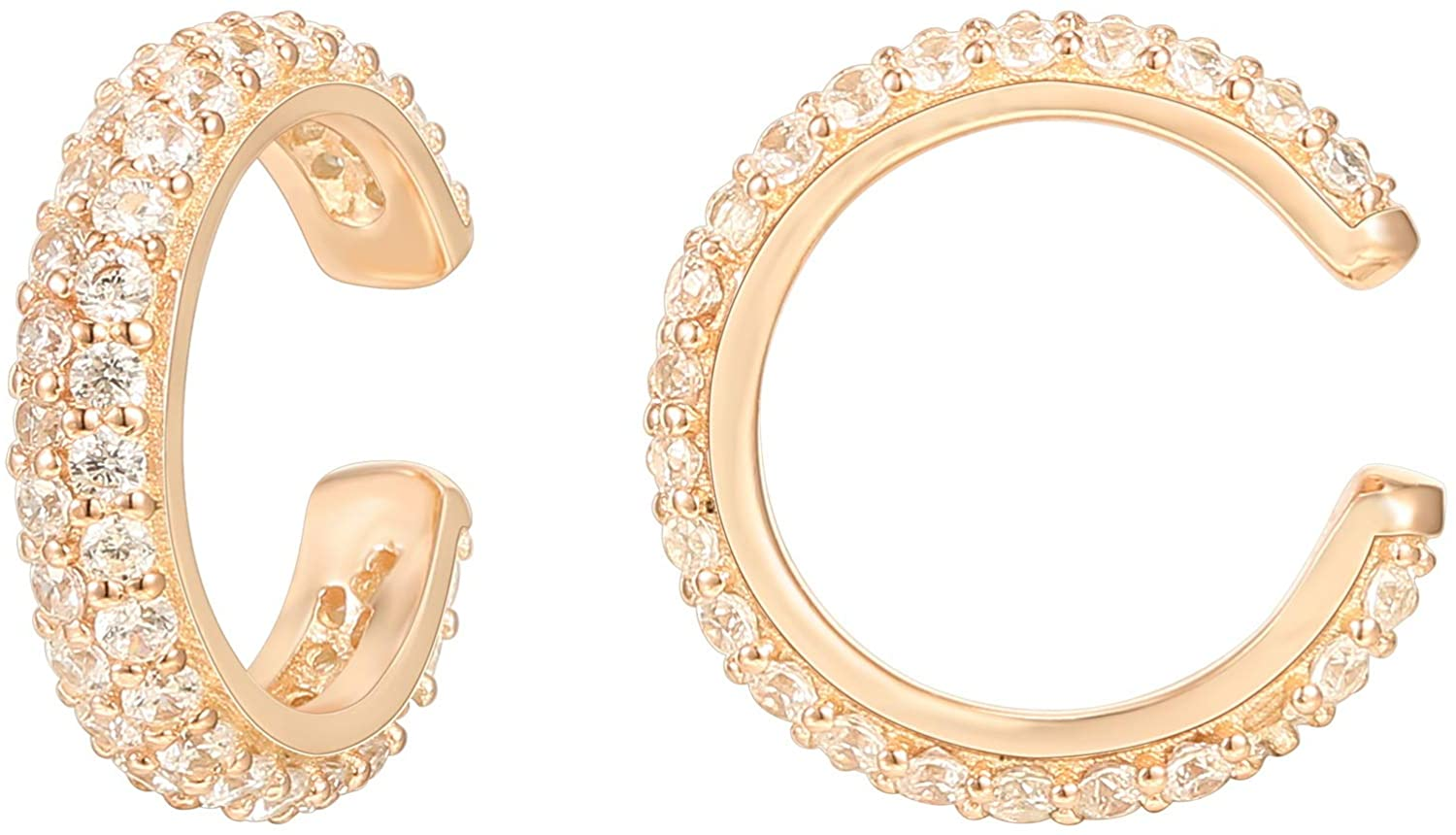 PAVOI 14K Gold Plated 925 Sterling Silver 1.3mm Staggered Cubic Zirconia Sparkling Round Huggie Ear Cuff Gold Earrings for Women | Clip On Cartilage