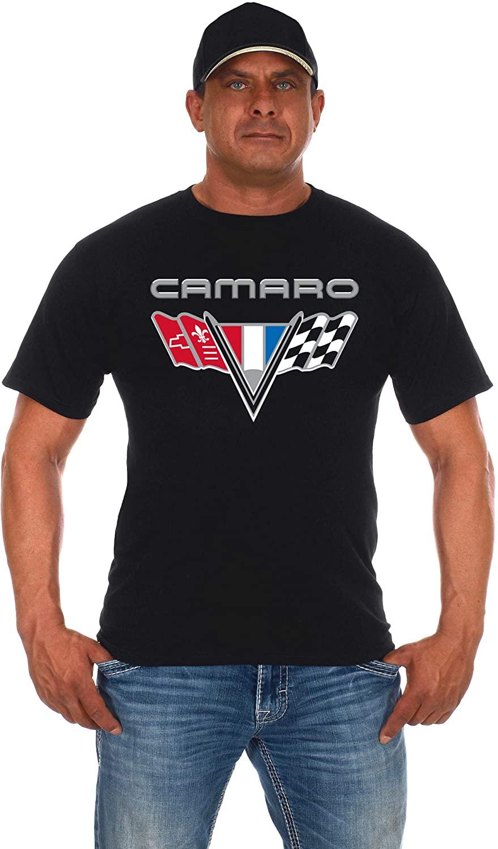 JH Design Men's Chevy Camaro Flag T-Shirt Short Sleeve Black Crew Neck Shirt