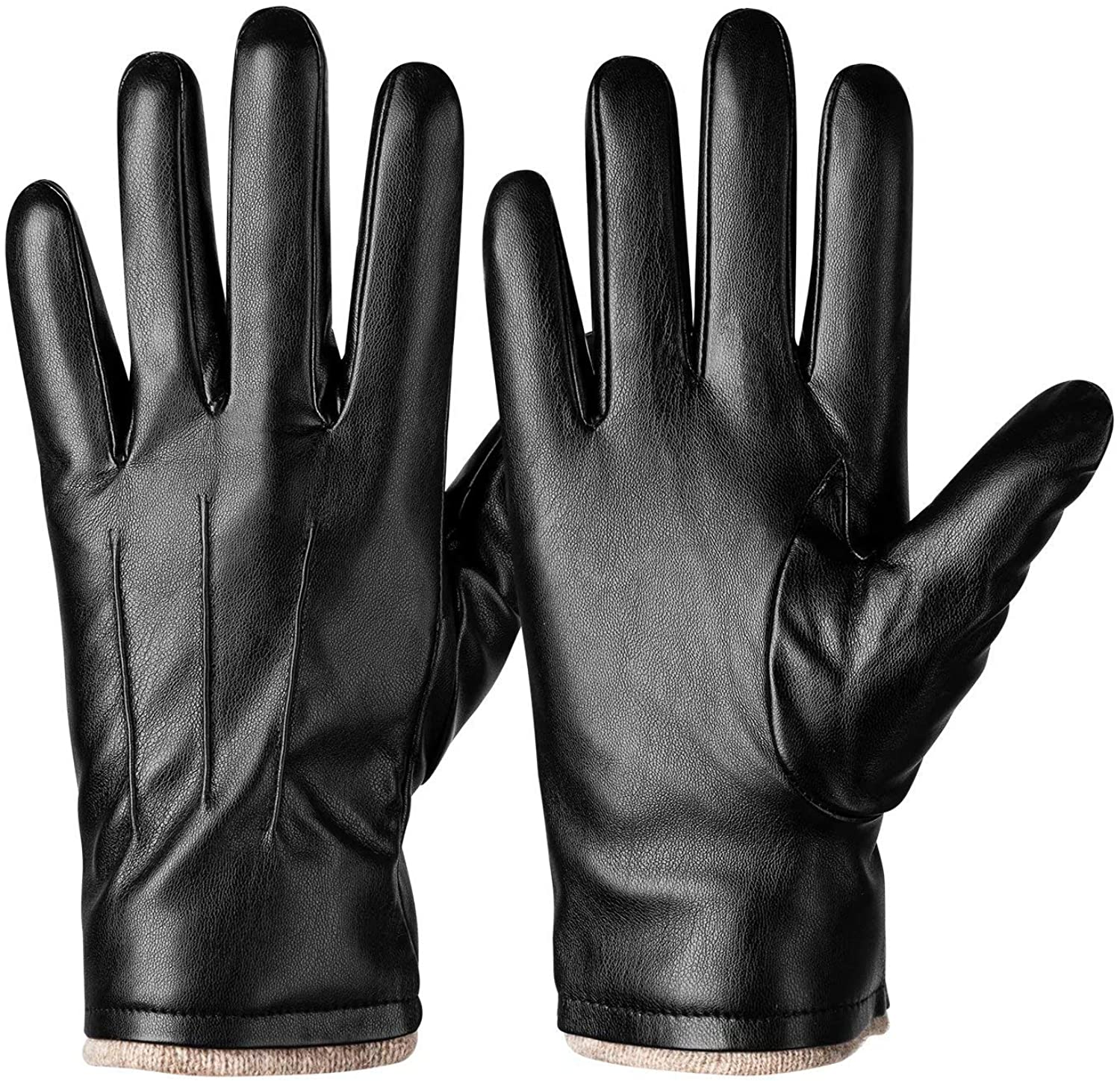 Winter PU Leather Gloves For Men, Warm Thermal Touchscreen Texting Typing Dress Driving Motorcycle Gloves With Wool Lining
