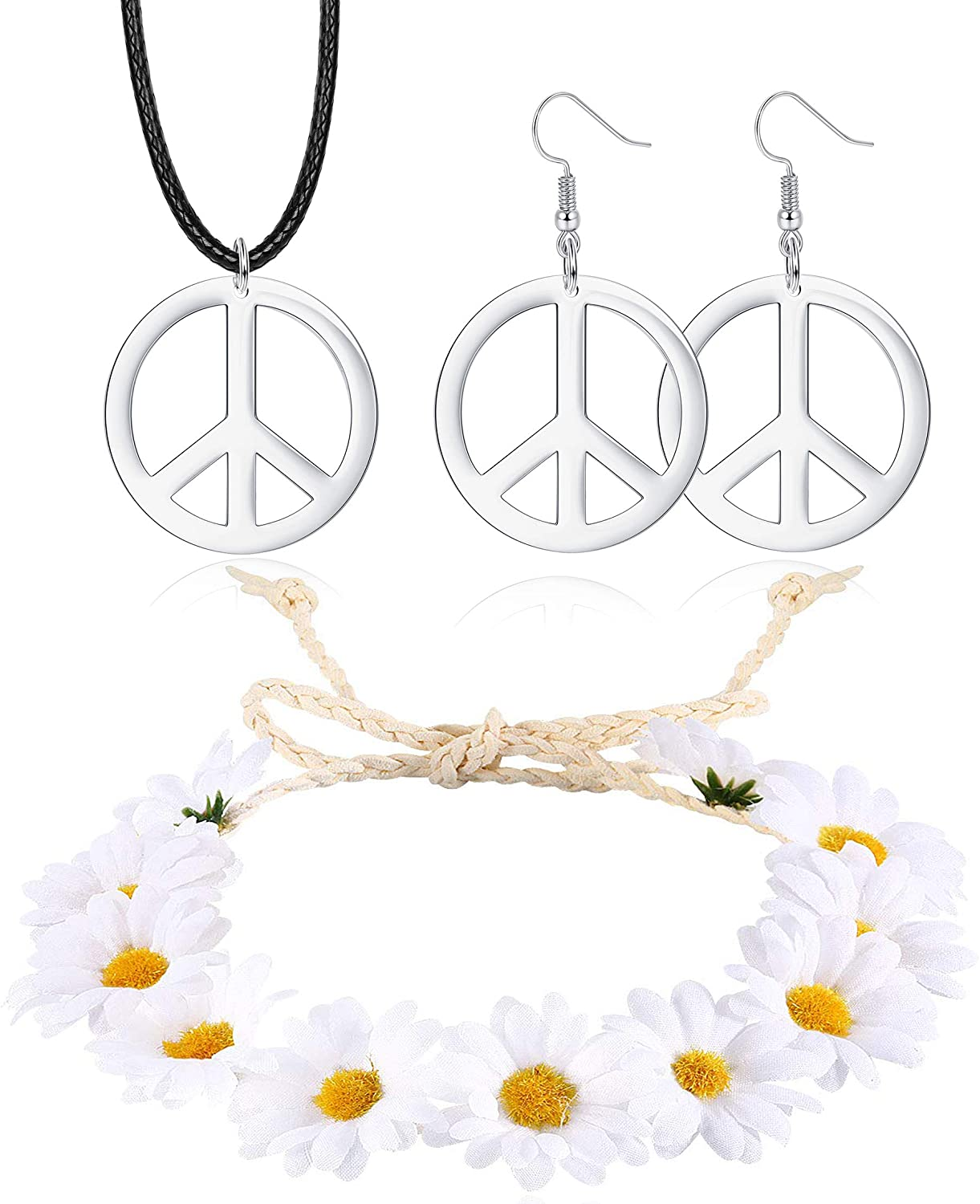 JOERICA Hippie Costume Set, Peace Sign Necklace, Peace Sign Earrings, Flower Crown Headband, 1960s 1970s Hippie Jewelry Accessories for Women