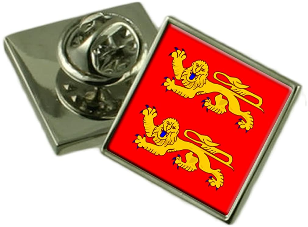 Lower Normandy Province France Flag Lapel Pin Engraved Box