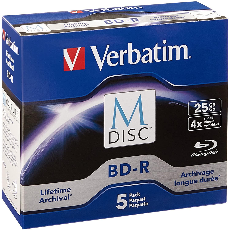 Verbatim M-Disc BD-R 25GB 4X with Branded Surface - 5pk Jewel Case - 98900