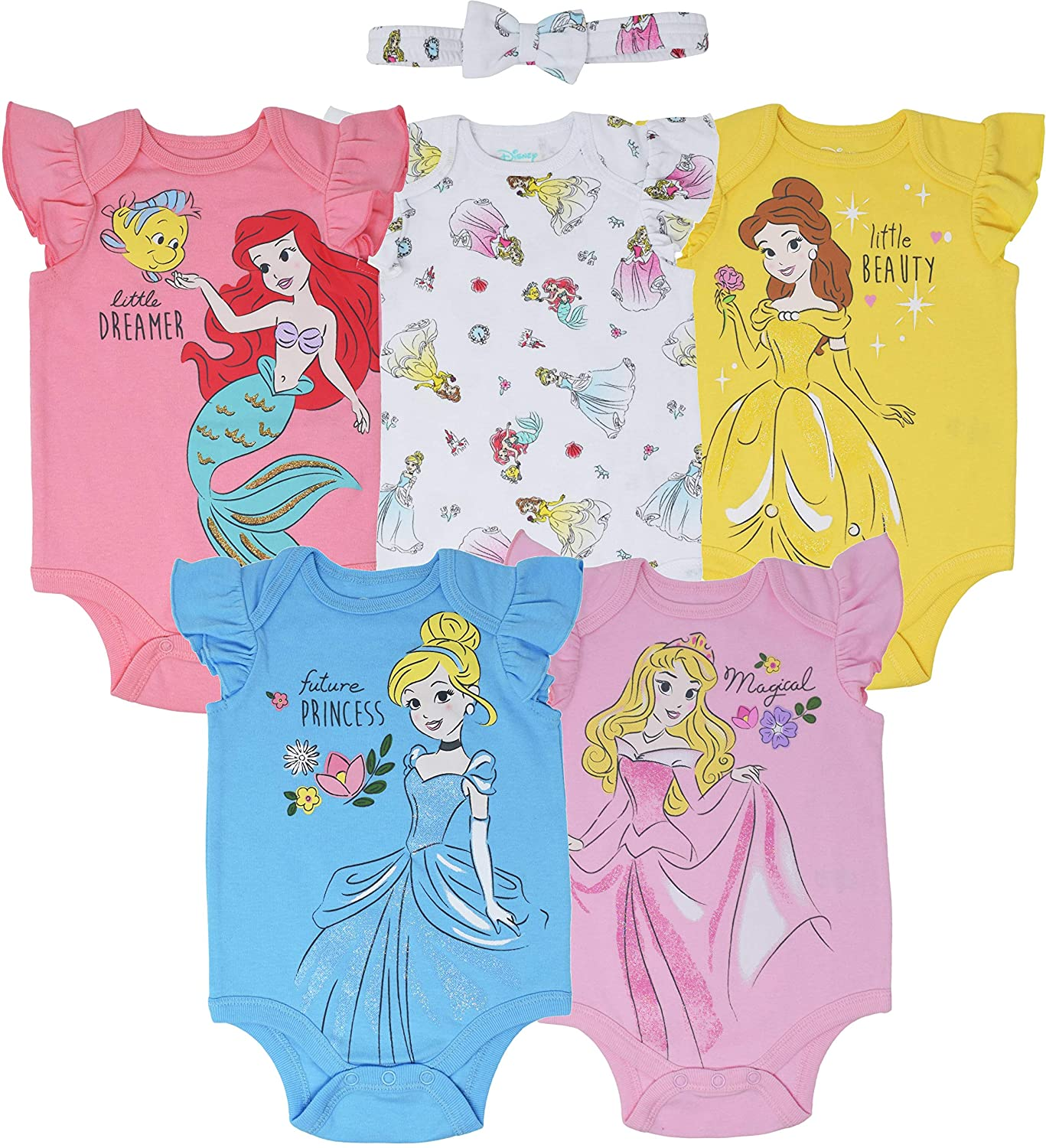 Disney Princess Baby Girls' 5 Pack Bodysuits and Bow