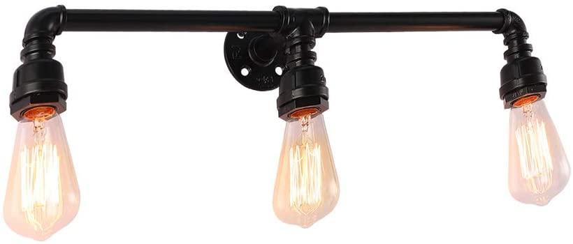 YIINO 3 Lights Wall Light,Vintage Bathroom Vanity Light Black Bathroom Light Fixtures