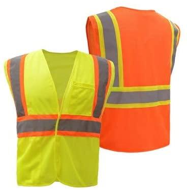 Safety Vest Style 3504 FR Treated (NFPA 701) Non-ARC Rated | Hi Vis Vests Reflective | Hook & Loop Front Closure | ANSI 107 Class 2 Compliant (Hi-Vis Orange, N)