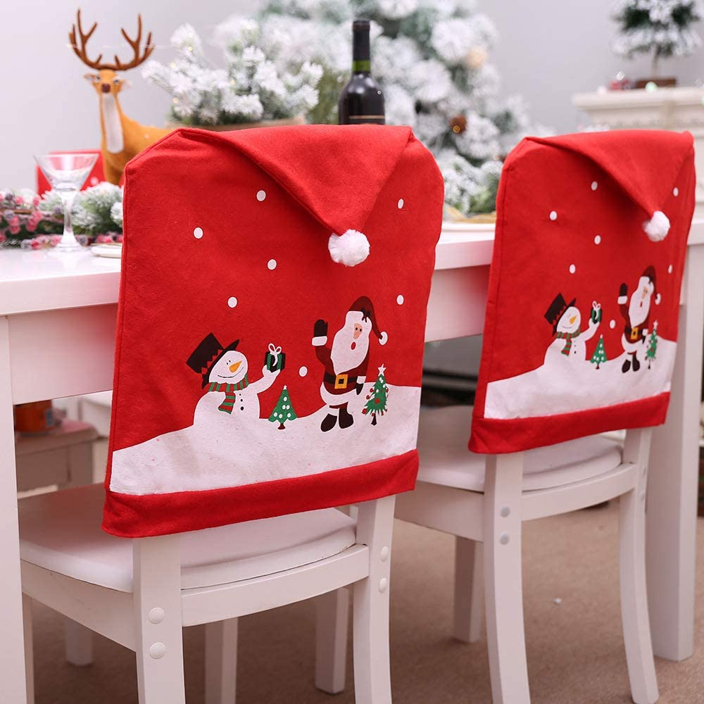 CHAIR COVERS SWEETABLL Christmas for Dining Room, Removable, Washable, Soft, Stretch, Dust, Stain Proof, Seat Covers for Dining Room, Ceremony, Party, Restaurant (Christmas-STYLE-01)