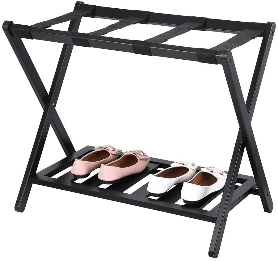TZZD Luggage Rack, A Necessary Folding Luggage Rack for Home Use, 4 Nylon Shoulder Straps, Brown