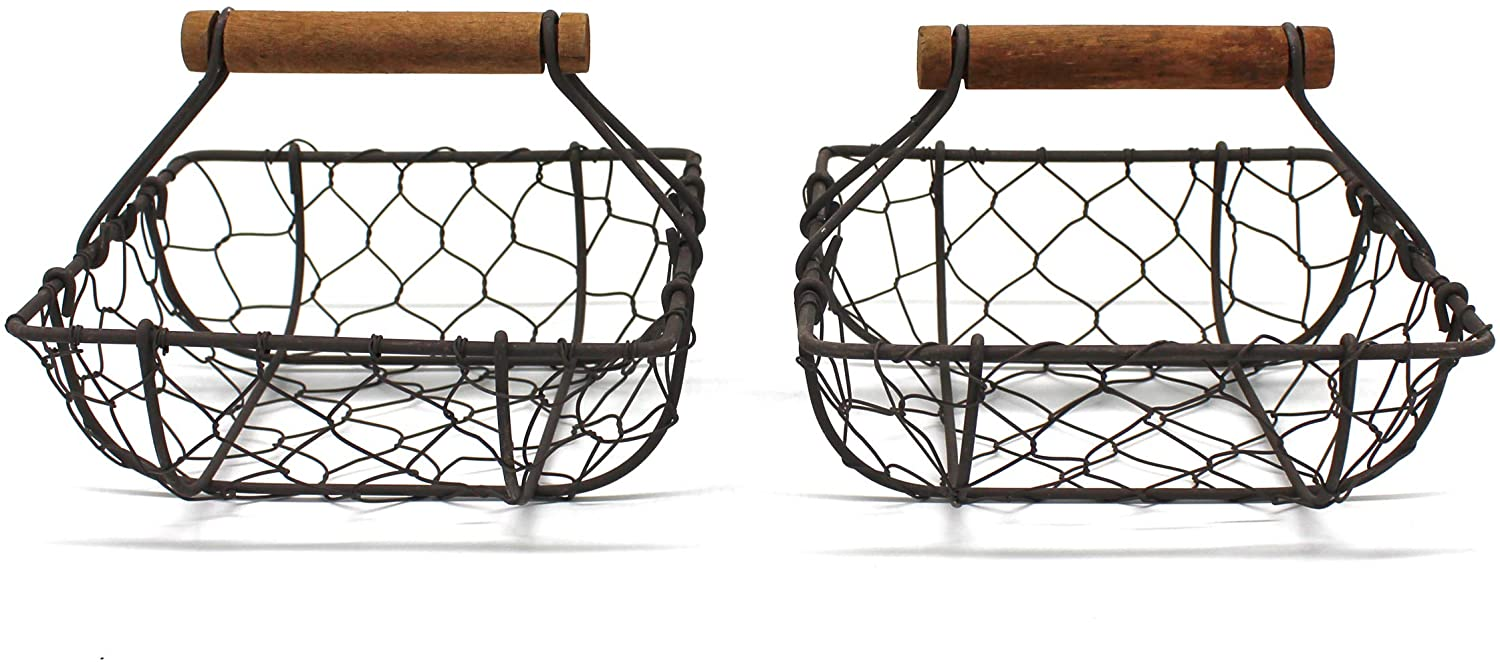CVHOMEDECO. Chicken Wire Egg Baskets Rust Gathering Baskets with Wooden Handle Country Vintage Style Storage Baskets. Set of 2 (Square)