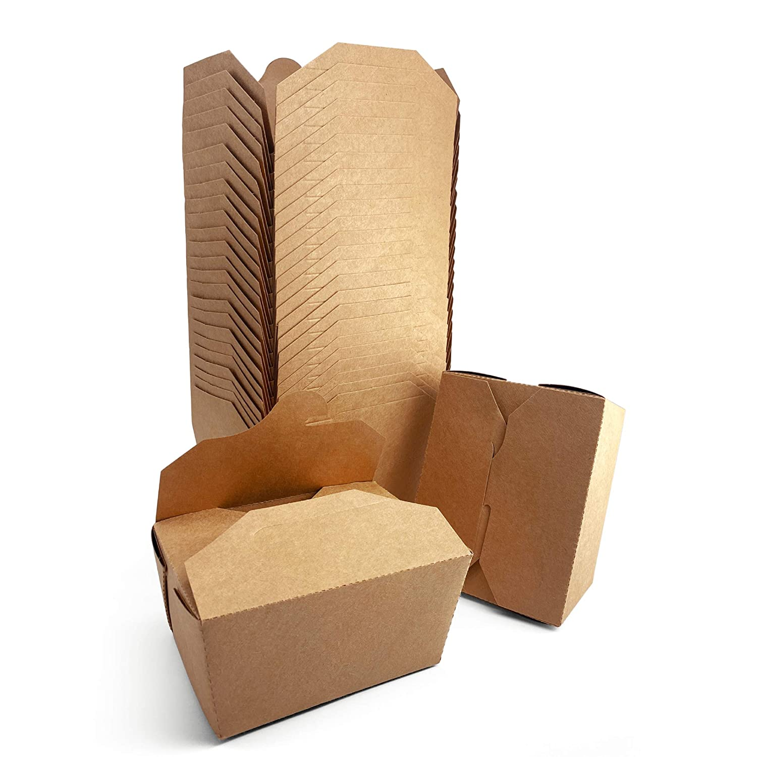 [27 oz, 36-Count, Kraft Brown] Papernain Take Out Food Containers, Disposable Paper Box