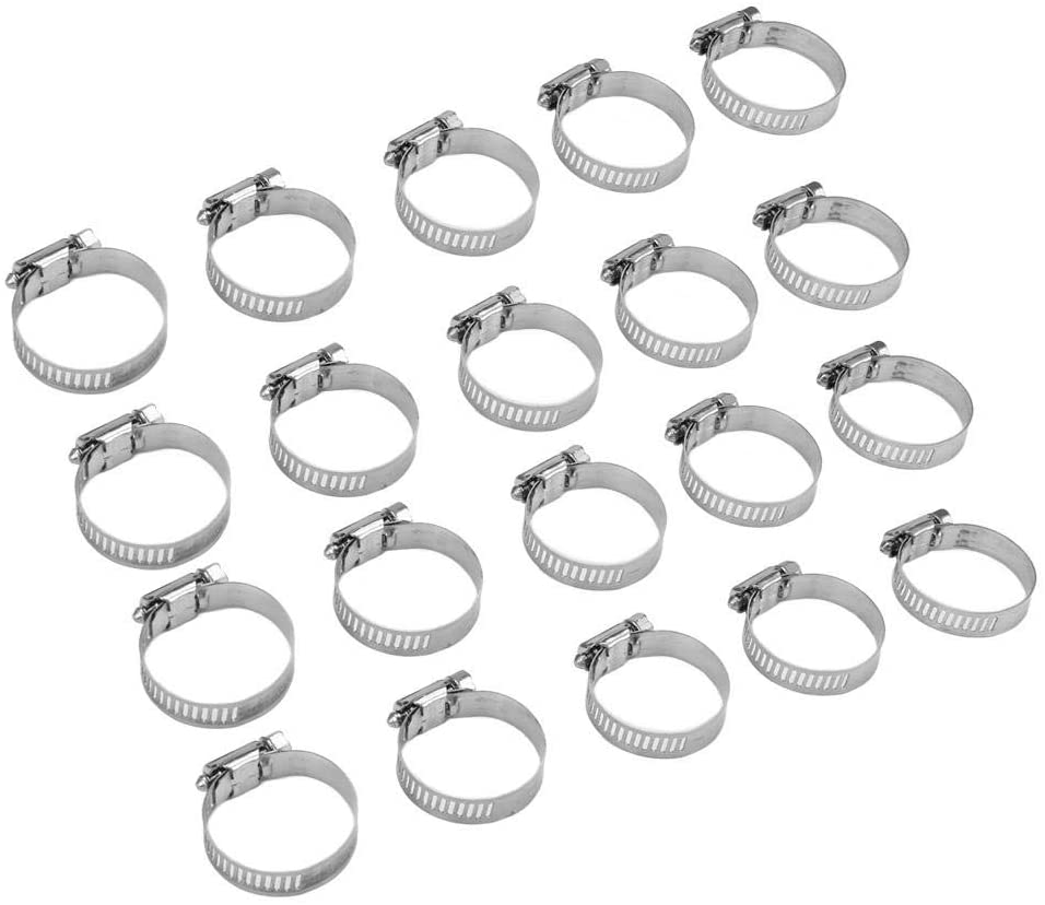 Marhynchus 20pcs Fuel Line Worm Clip Stainless Steel Hose Clamps Pipe Clamp(4 Sizes)(25-38mm/1-1.5inch)