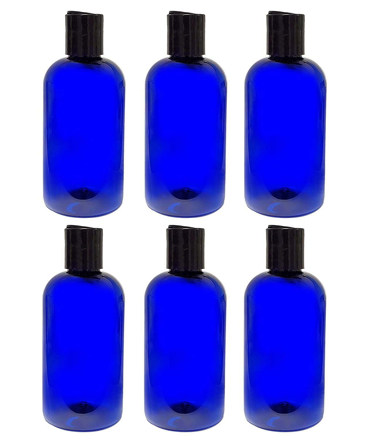 ljdeals 8 oz Cobalt Blue PET Plastic Refillable Bottles with Disc Top Caps, Pack of 6, BPA Free, Made in USA, 6 waterproof Labels
