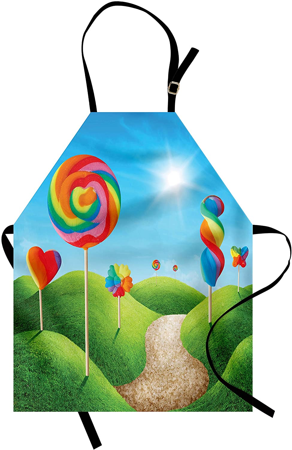 Ambesonne Fantasy Apron, Surreal Candy Land Delicious Lollipops and Sweets Sun Cheerful Fun Print, Unisex Kitchen Bib with Adjustable Neck for Cooking Gardening, Adult Size, Green Blue