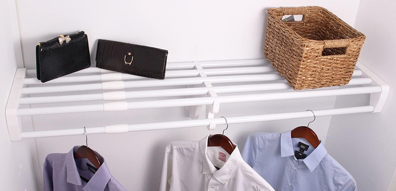 EZ Shelf Expandable Closet Shelf & Rod with No Brackets, 40