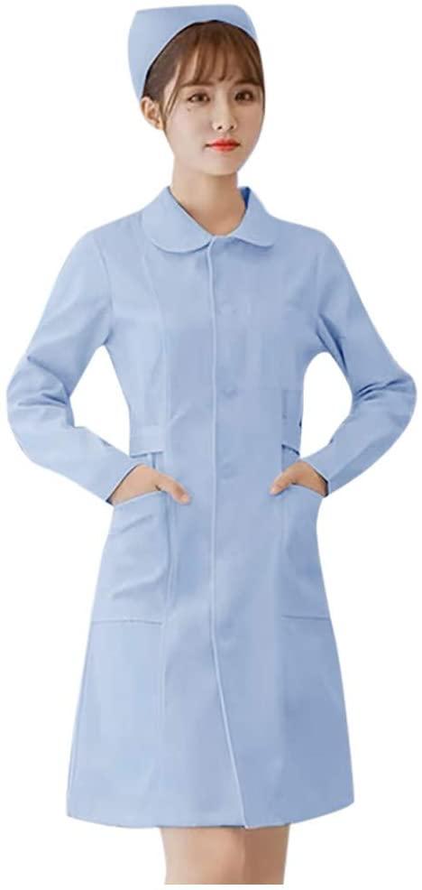 Nurse Clothes, Charlasl Unisex Healthcare Tunic Maid Nurses Carers Therapist Uniform, Nurse Clothes Women's Self-cultivation Work Clothes Short Sleeve Lapel Uniform Women Men