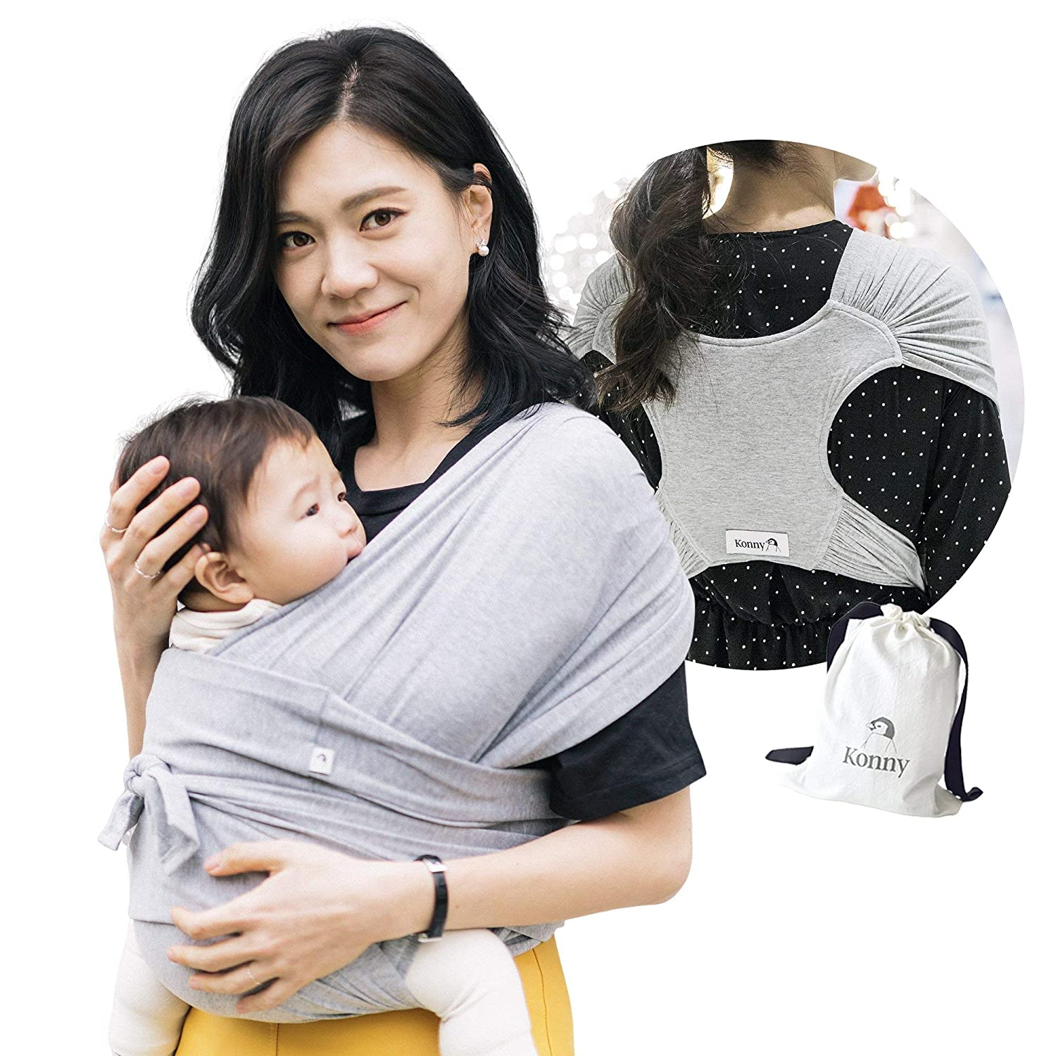 Konny Baby Carrier | Ultra-Lightweight, Hassle-Free Baby Wrap Sling | Newborns, Infants to 44 lbs Toddlers | Soft and Breathable Fabric | Sensible Sleep Solution (Grey, M)