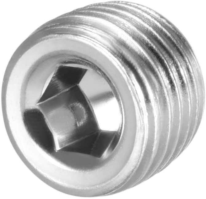 Othmro Iron plug 2 points Silvery 12.5mm Internal Hex Head Pneumatic Pipe Fittings Socket Caps Male Threaded 6PCS