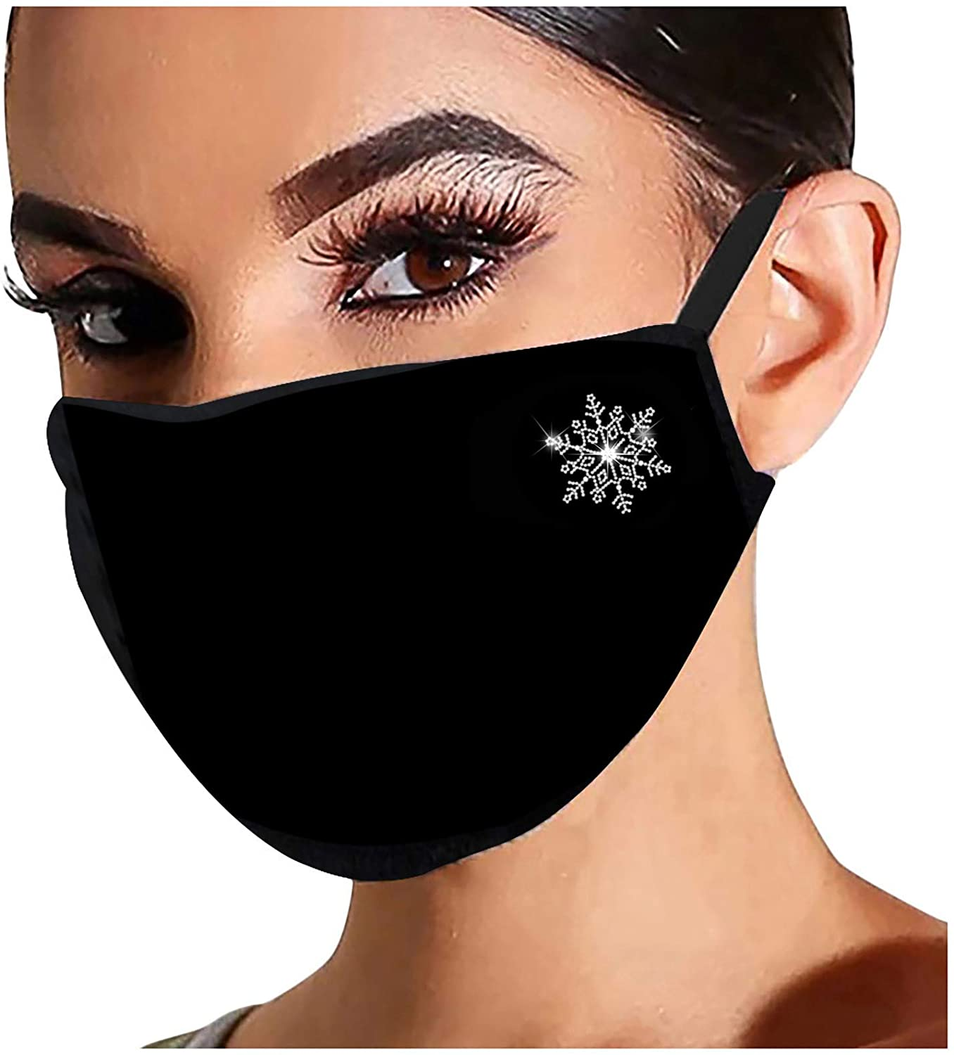 AIHOU Face Masks Reusable Washable Cloth Face Mask Adult Breathable Comfortable Cotton Fabric Mouth Cover Masks Rhinestone Christmas Decorations Party mask