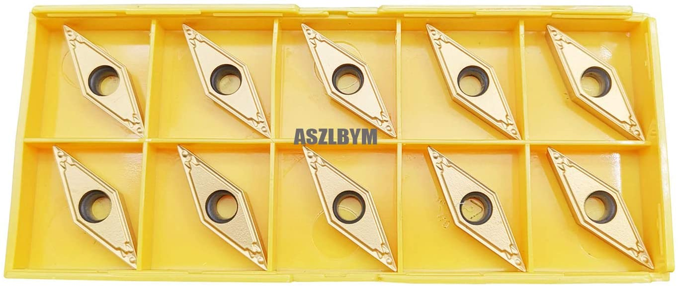ASZLBYM VBMT331 / VBMT160404-HQ US735 CNC Lathe Indexable Carbide Turning Insert Cutting Blade for VBMT Turning Tool Holder, Multilayer Coated, 3/16