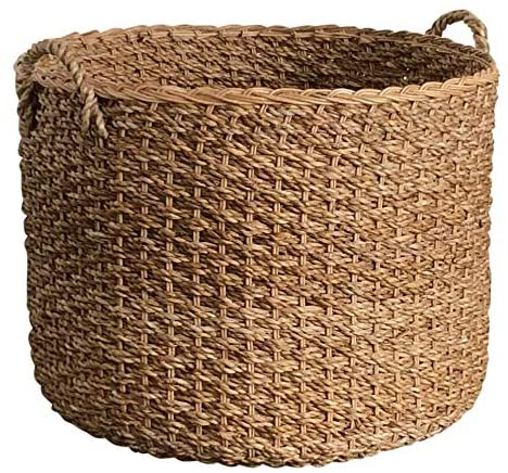 Wholestory Round Woven Wicker Banana Leaf Large Blanket Floor Storage Basket with Handles Perfect for Organizers