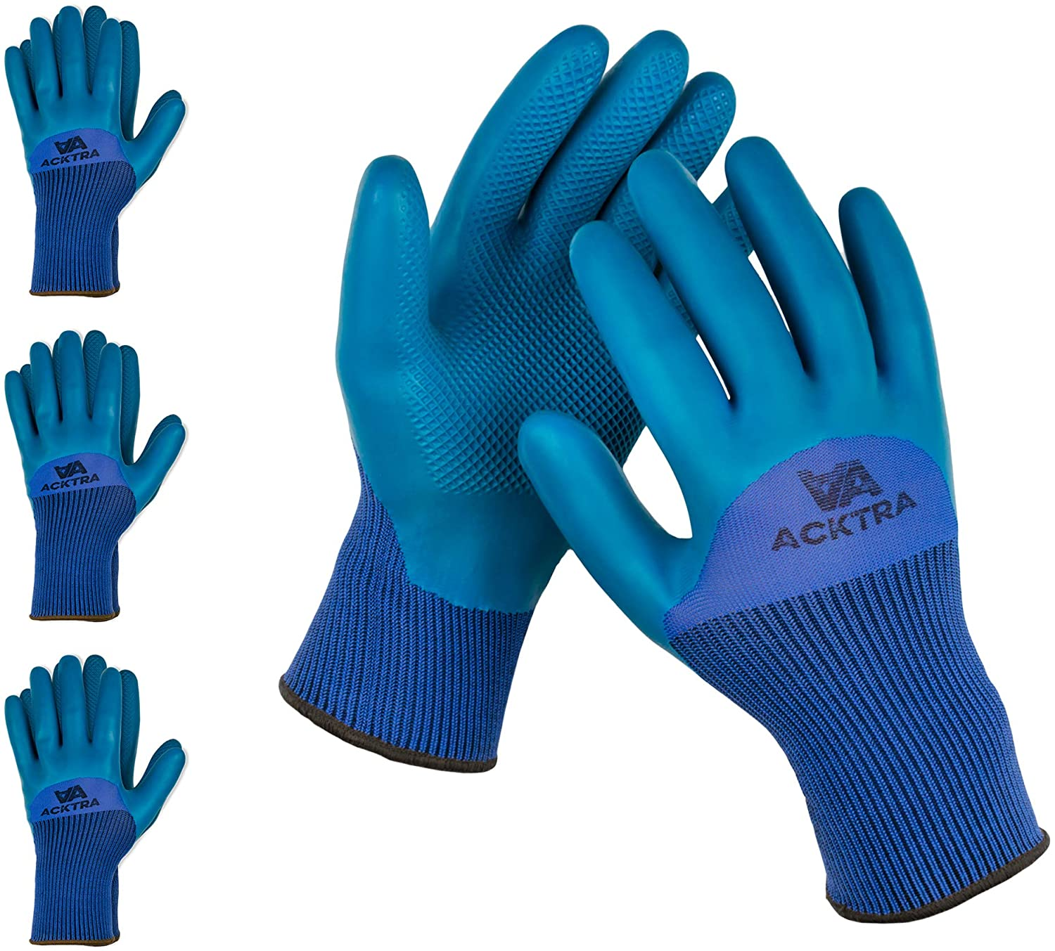 ACKTRA Safety WORK GLOVES 3 pairs, Seamless Blue Nylon Spandex Liner, Teal Textured Eco-Latex Coated, Comfort Fit, Power Grip, for Men and Women, 3/4 Coated, WG017, X-Large