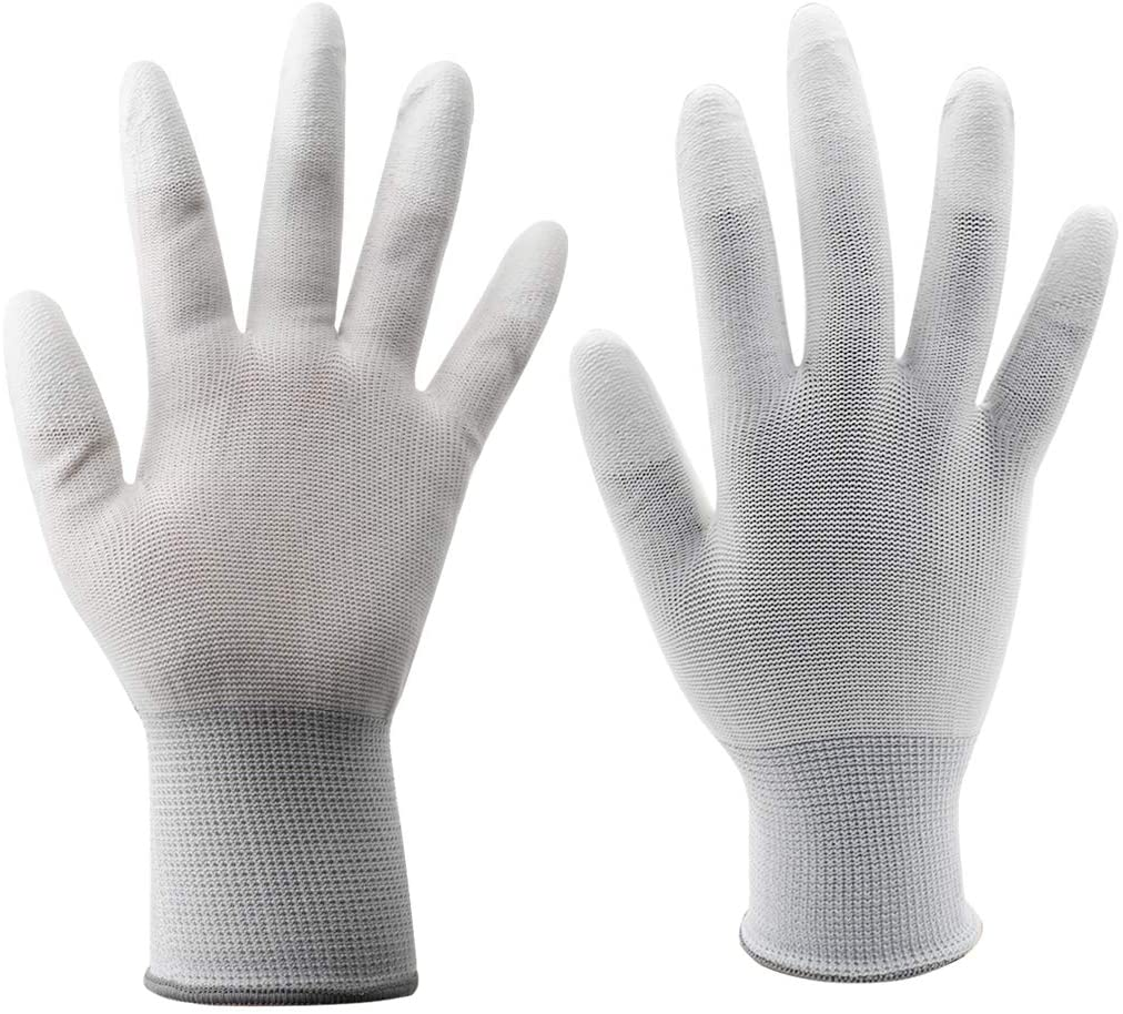 SiinvdaBZX 12 Pairs Nylon Anti Static Gloves Anti-Slip Polyurethane Finger Coated Quilting Gloves (Large, White)