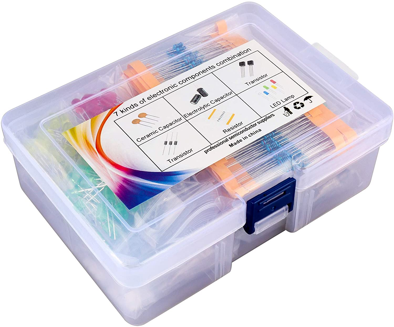 Actume Electronic Component Kit Assortment (Total 1200 PCS), LED, Tramsistor, Metal Film Resistors, Aluminum Electrolytic Capacitors, Ceramic Capacitors