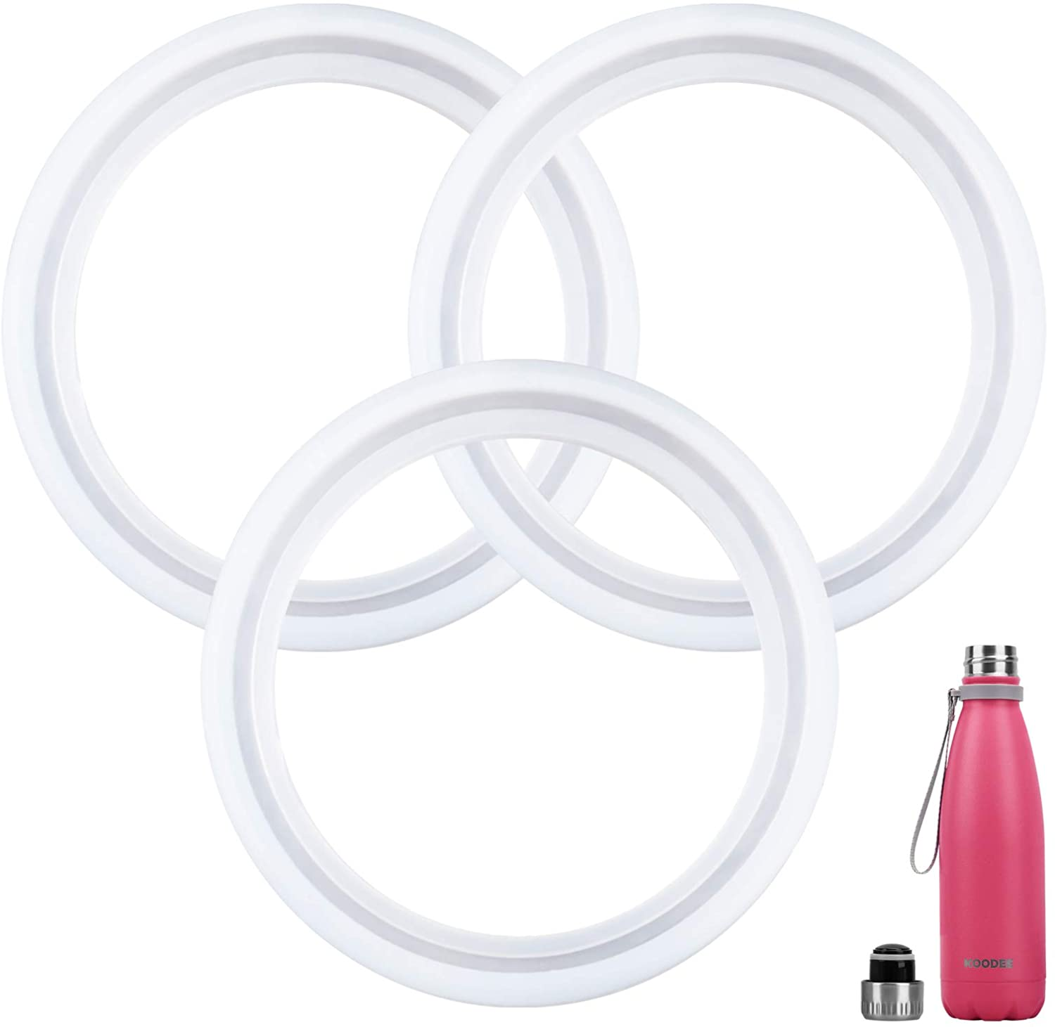 koodee 3 Pack Replacement Silicone Sealing Rings Gaskets for 17 oz Vacuum Insulated Water Bottle, BPA-Free
