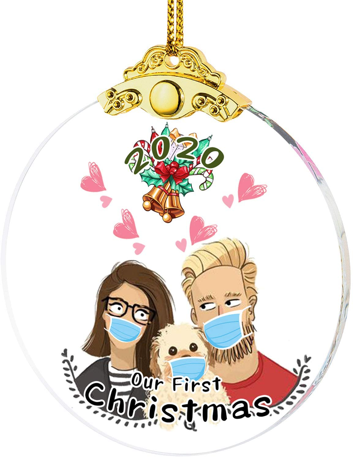 IFOLAINA 2020 Christmas Ornament Our First Quarantine Lovers Gift Tree Hanging Ornaments Newly-Married Couple Present Wedding Ceremony Friends Survive Christmas Pendant Novelty Souvenir