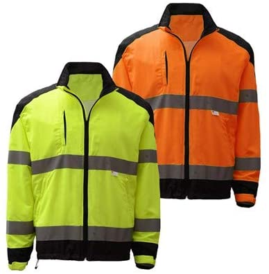 Premium Class 3 Zipper Hi Vis Windbreaker Jacket with Black Bottom (XL, Lime)