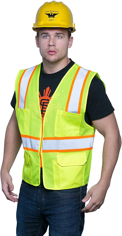 Brite Safety Style 1220 Safety Vest | Hi Vis Surveyor Vest | 2-Tone Mesh | Multi Pocket | Zipper Front Closure | ANSI Class 2 Compliant | For Men and Women (S, Hi Vis Yellow)