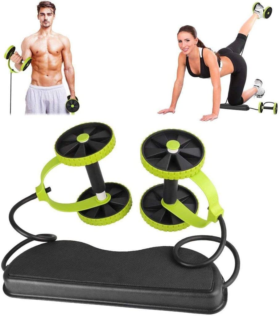 Charlasl Abdominal Trainers Abs Waist Wheel Handle Workout Machine Fitness Exercise Equipment Abdominal Exerciser Trainer Puller Roller Slimming Muscle Trainer Workout Tool Resistance Band
