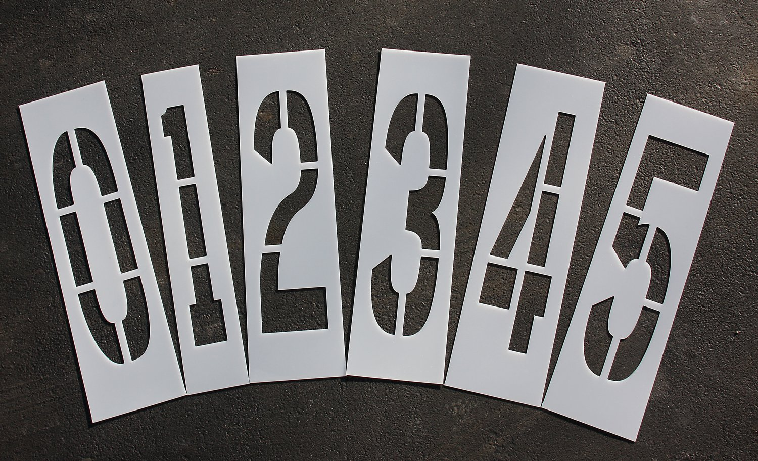 Parking Lot Pavement Stencils - 36 in - NUMBER KIT STENCIL SET - 1/16 Light-Duty - (12 Piece - (1) Number 0-9, and (2) blanks)
