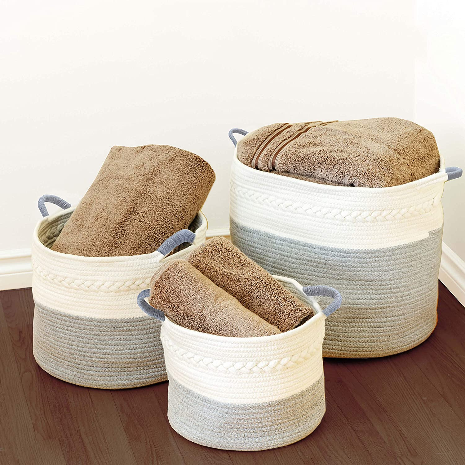 3 Pack Woven Rope Basket Set - Small Medium & Large Organic Woven White & Gray Cotton Rope Baskets, Durable Materials with Soft Rope Handles. Great for Laundry, Toys, Towels, Bedding & Nurseries