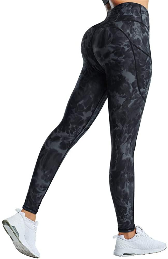 RUUHEE Women Butt Lifting Tie Dye High Waisted Pocket Workout Yoga Leggings
