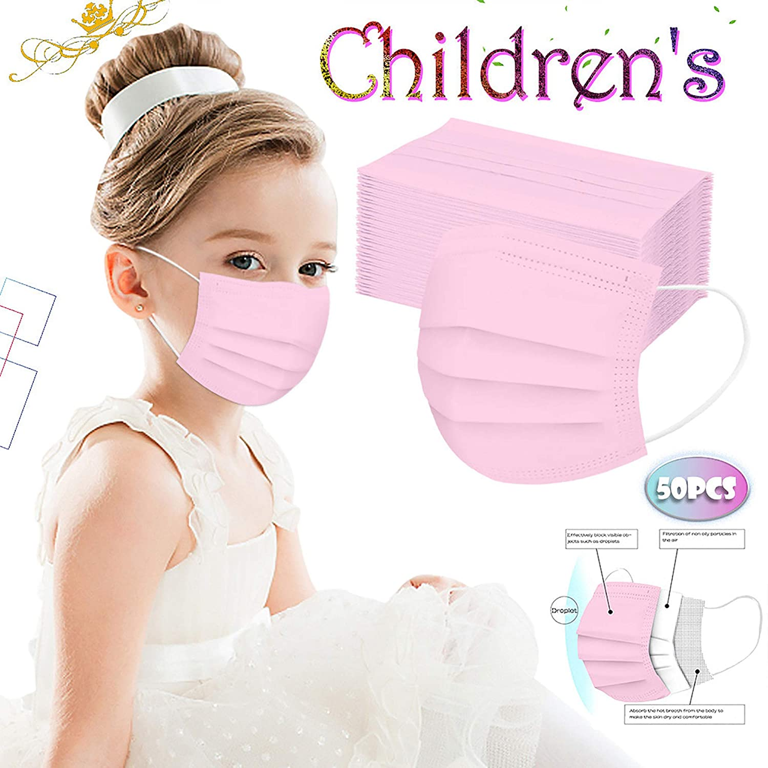 50 Pcs Kids Disposable_Face_Masks for Protective, 3 Ply Face_Masks for Girls Boys, Breathable Comfortable Anti Dust Protective Face Covering with Elastic Earloop for Children (50 Pcs, Pink)