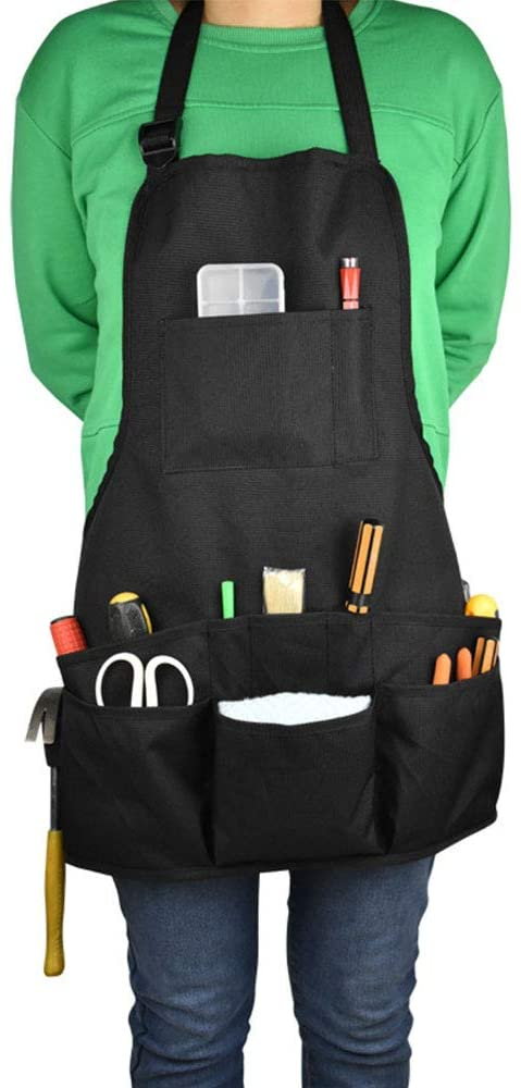 Linkland Professional Black Heavy Duty Work Apron, Waterproof Oxford Cloth Fabric, Adjustable Gardening Utility Tool Aprons for Men and Women