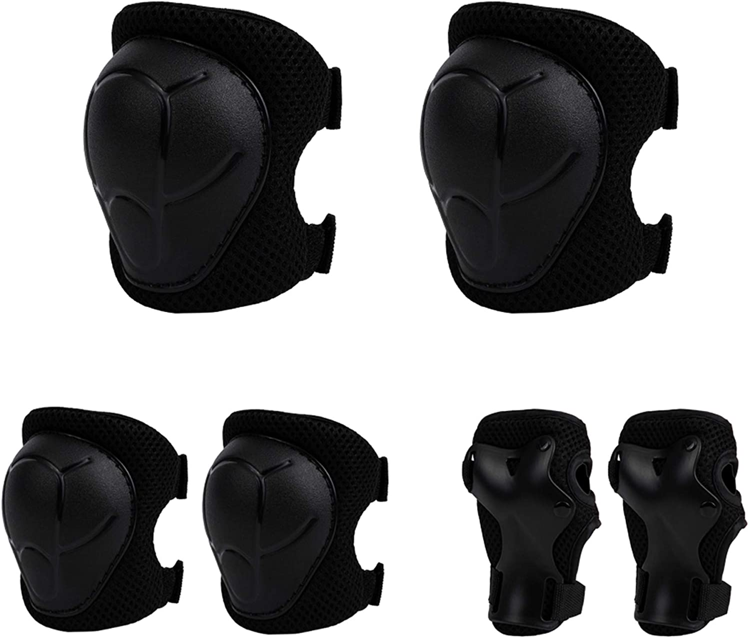 Anyoupin Kids Protective Gear, Knee Pads Elbow Pads and Wrist Guards 3 in 1 Set with Adjustable Strap for Roller-Skating Skateboard Cycling Skating Bike Scooter