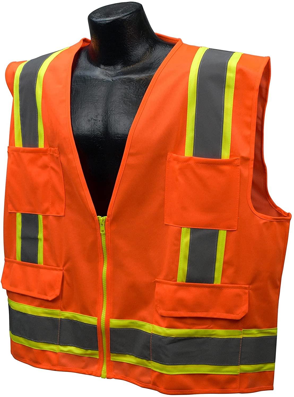 Full Source US2ON16 Class 2 Solid Surveyor Safety Vest - Orange - 2XL