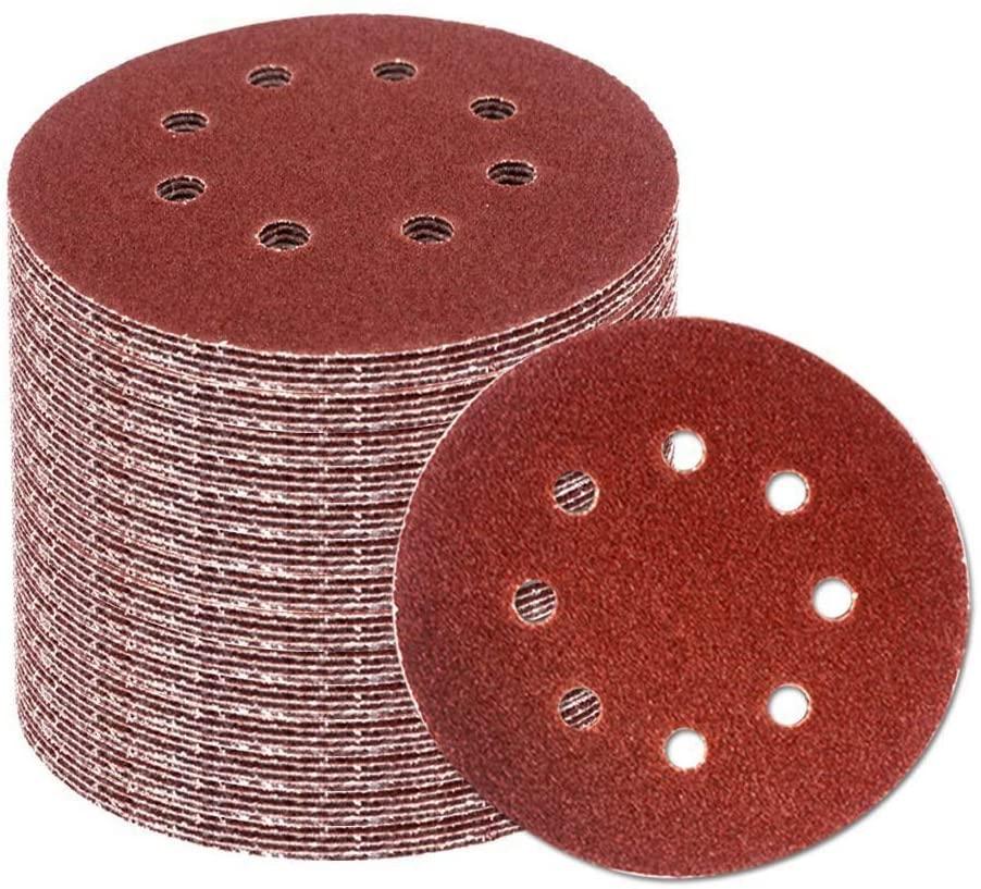 SOFIALXC Sanding Discs Sandpaper disc Sandpaper 5 Inch 8 Hole Hook and Loop Sheets Assorted Sander Tools-600#(100pcs)