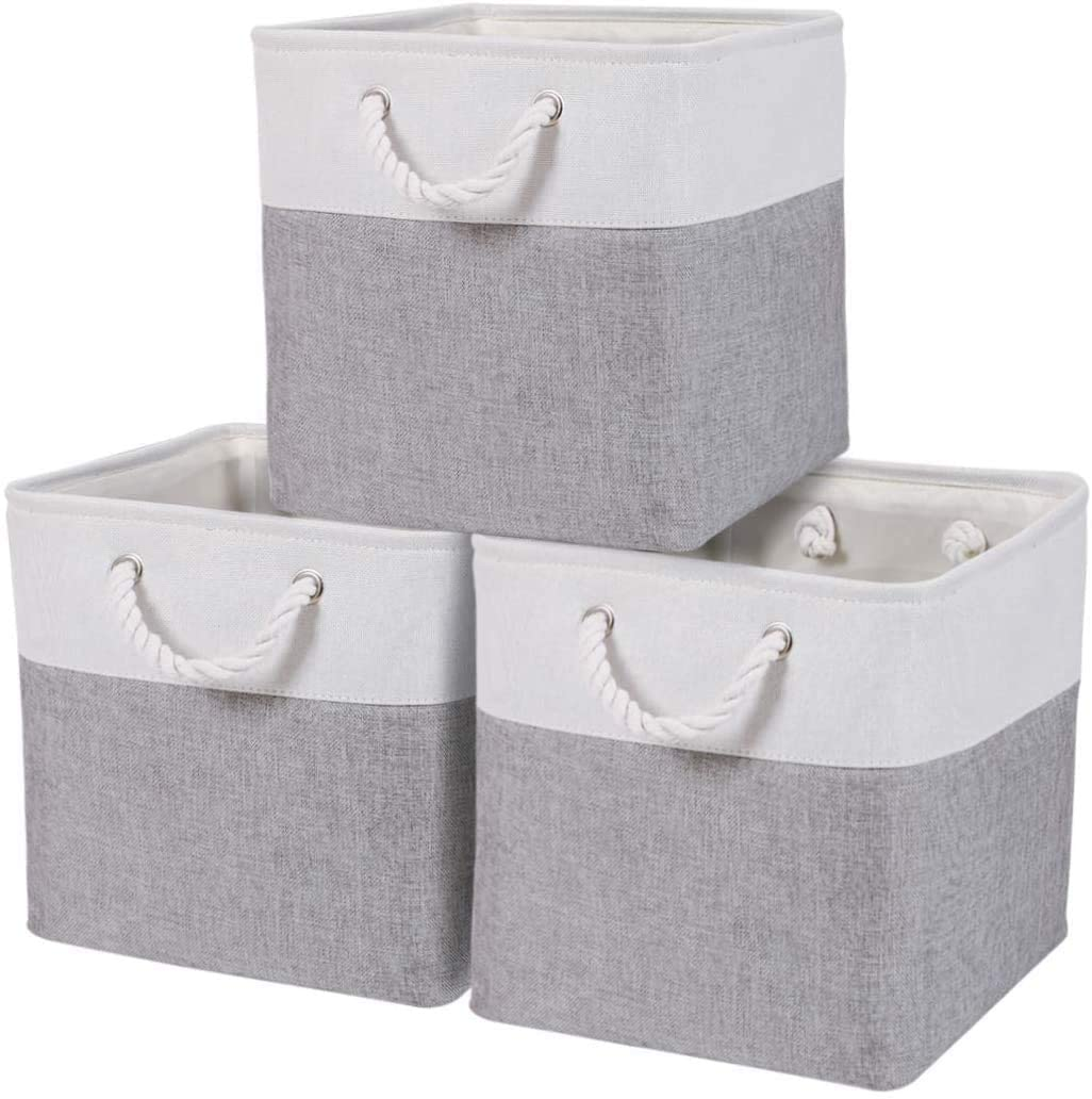 DECOMOMO Foldable Storage Bin | Collapsible Sturdy Cationic Fabric Storage Basket Cube W/Handles for Organizing Shelf Nursery Home Closet (Grey and White, Cube - 13 x 13 x 13-3 Pack)