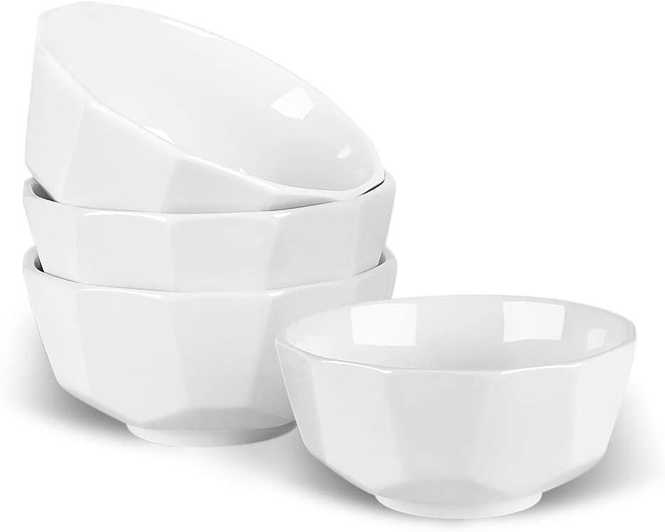 KitchenTour Geometric Porcelain Cereal Bowls - 22 oz Large Capacity Ceramic Bowls for Cereal, Soup, Rice, Salad, Oatmeal, Pasta - Set of 4, White