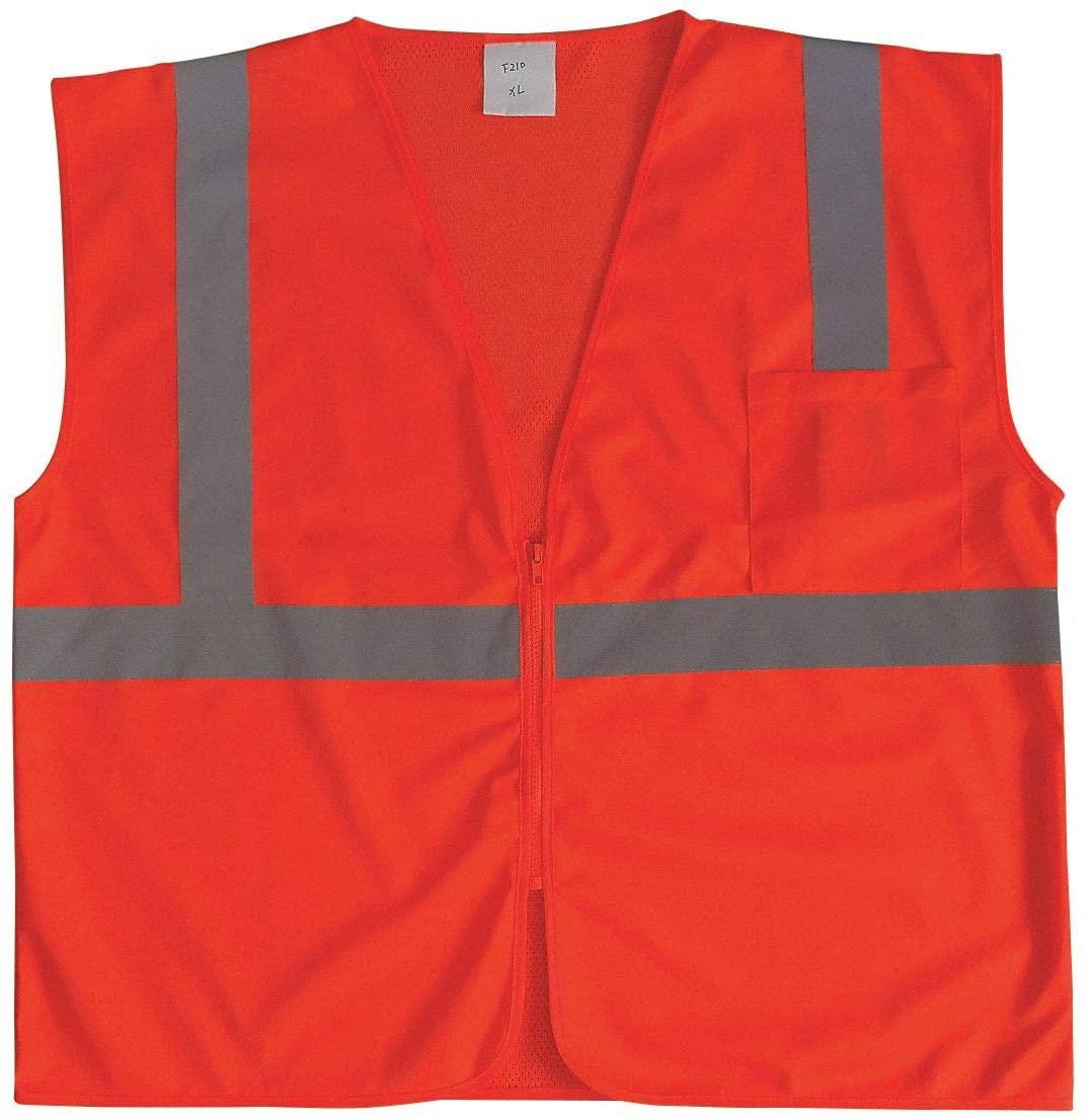 Orange/Red with Silver Stripe Traffic Vest, ANSI 2, Zipper Closure, S